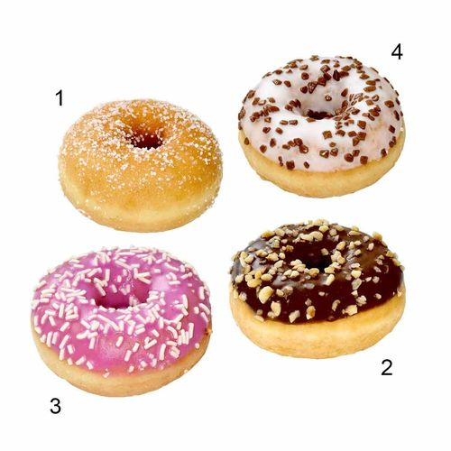 SG-Assortiment mini-donuts funny, 4 sortes